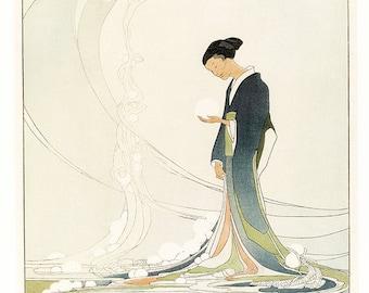 Art Nouveau Painting - Japanese Art  - Water Spirit - Asian Art - Antique Art - Art Nouveau Print - Art Nouveau - Goddess Art