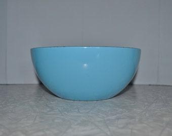 Catherineholm Blue Enamel Bowl 8'' ~ Mid Century ~ Metal Enamel Bowl ~ Norway ~ Epsteam