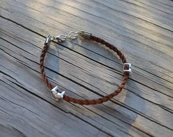 Silver Heart Leather Bracelet