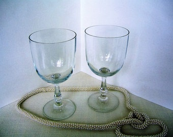 2)  PALE BLUE Matching Crystal WINE Stems Vintage Bar Glasses for Red Wine-Great Gift! Wedding Bridal