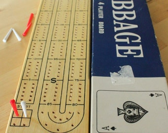 Vintage 1950s-60's Wood Cribbage Board with metal Pegs and Instructions, 2 or 4 player game