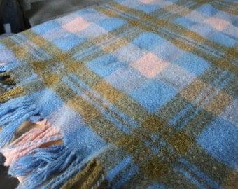 """Vintage Picnic/Throw/Blanket pink, brown, blue, vintage wool throw 56 by 48"""", 100 % LAMBSWOOL blanket, Johnstons of Elgin SCOTLAND"""