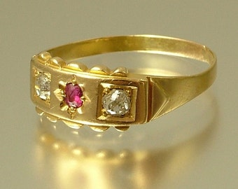 Vintage antique Victorian 18ct 18kt yellow gold, old cut diamond and ruby ring - 1800s, 19th century - old jewellery, estate jewelry