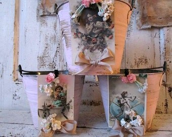 Metal pail grouping pink rusty shabby cottage chic buckets adorned old French postcards romantic antique home decor anita spero design