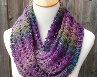 Multicolor Infinity Scarf - Purple & Green Infinity Scarf - Wool Infinity Scarf - Crochet Infinity Scarf - Circle Scarf - Ready to Ship