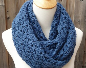 Rich Country Blue Infinity Scarf - Dark Blue Infinity Scarf - Crochet Scarf - Wool Scarf - Circle Scarf - Ready to Ship