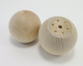 Wooden Knobs | 2 inch Wood Ball Knob, Unfinished Wood Drawer Pull, Furniture Feet, Finials