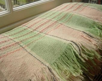 "Vintage Welsh Wool Blanket 80"" x 68"" Cream Pink Green with Black Stripes"