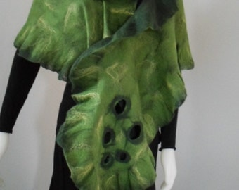 Ruffled Merino Wool Hand Felted Scarf Green on Green