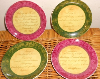 Vintage plates Biblical Wisdom Quotes Set of 4 Dining decor Free USA Shipping 80s
