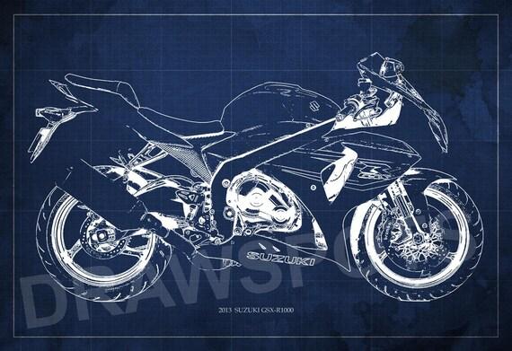 Motorcycle Poster 2013 Suzuki Gsx R1000 Blueprint Art By