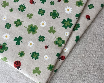 Cotton green clover and ladybug fabric 19.68 x 55.11 inch