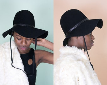 Floppy Hat Black Floppy Hat Sun Hat Wide Brim Hat Black Sun Hat Floppy Wool Hat 70s Hat Womens Floppy Hat Large Floppy Hat Big Floppy Hat