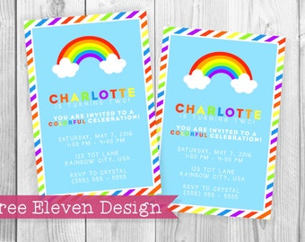 Rainbow PRINTABLE Birthday Invitation