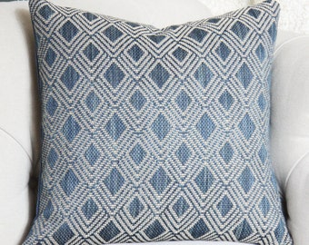 Blue Geometric Pillow Cover - 16 x 16 Medium Blue Geometric- Ralph Lauren Zig Zag Pillow Cover - Bohemian Decor - Dark Blue Decor