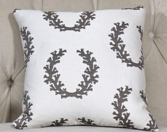 Beach Pillow - Brown & Off White Pillow Cover - Coral Reef Pillow Cover - Shabby Chic - Neutral Pillow Cover - Ocean Pillow - Motif Pillows