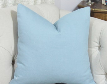 Solid Blue Pillow Cover -French Blue - Medium Blue - Beach Washed Cotton Duck Finish - Motif Pillows