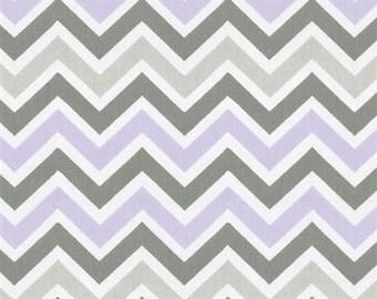 "Lilac, Grey & White Chevron Fabric Remnant 14"" x 24"""