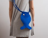 Animal Bag Fish Purse Kids Bag Small Bag Purse Blue Fish Quilted Bag Nautical Small Wallet Cotton Bag Girls Bag Crossbody Bag Cute Hipster