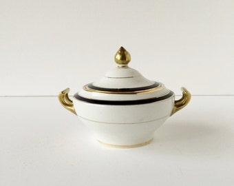 Vintage Myott Son & Co England Sugar Bowl With Lid, Cobalt Blue and Gold Banding Gold Encrusted Sugar Bowl and Lid, Elegant China