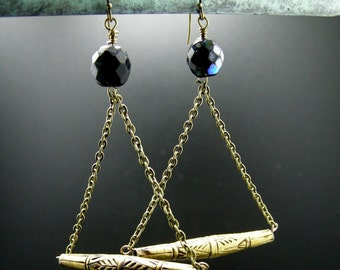 African Trade Bead and Brass Earrings