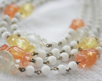 Vintage Necklace / Choker: Orange Green Yellow Frosted & White Glass Beads 1950s 4-Strand