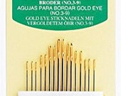 Clover No. 3-9 Gold Eye Cross Stitch / Embroidery Needles, Pack of 16