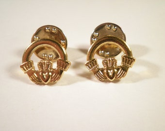 2 Gold Plated Claddagh Pins