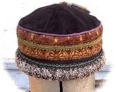 Black Brown Winter Tibetan Shearling Tapestry Hat Small