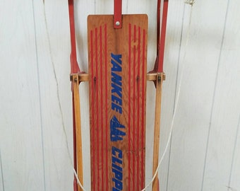 Vintage Wood Sled  Yankee Clipper Snow Sled Farmhouse Christmas