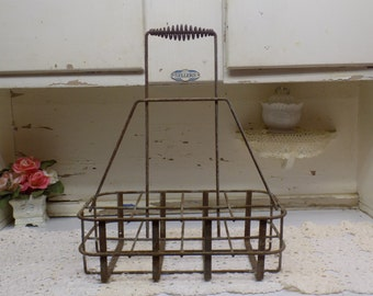 Vintage Tall Oil Bottle Carrier Basket Rustic Industrial Primitive 8 Compartments  B613