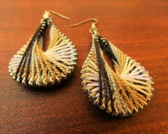 Steampunk Monochrome Earrings - Monochrome Thread Earrings - Peruvian Thread Earrings - Dangle Earrings