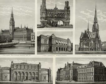 1897 Antique print of HAMBURG BUILDINGS. Architecture. Hamburger Monuments. Germany. 120 years old engraving.