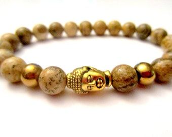 Picture Jasper Bracelet. Beaded Bracelet. Buddha Bracelet. Fashion Bracelet. Yoga Gifts. Power Stone. Healing Bracelet. Stacking Bracelets.