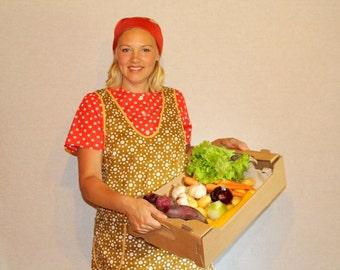 Soviet vintage apron Polka dot apron Vintage apronMustard apron Retro apron Vintage kitchen linens