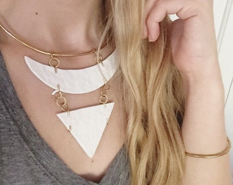 Brass Porcelain Hammered Stayement Necklace in White Elegant Minimal Jewelry FREE Shipping to USA