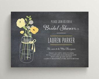 Printable Bridal Shower Invitation - Mason Jar // Black and Yellow // Rustic Chalkboard Invite (BR118)