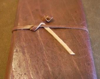 Brown Leather Blank Journal/Sketchbook, strap closure, 400pg, Vertical Grain