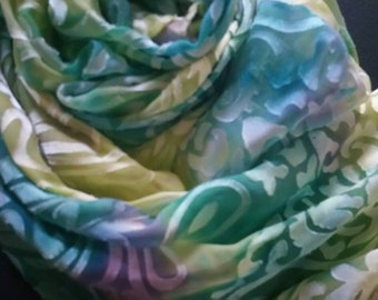 MADE TO ORDER Luxury silk scarf, scarves and wraps,one of a kind,teal,gifts for her,accessories for women, green,yellow,turquoise,Christmas,