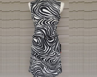 1960s L'Aiglon Op Art  print sleeveless dress NOS