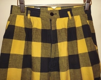 early 1980s Cristina cotton check pegged pants sz small