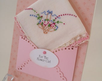 Flower Girl Gift Vintage Embroidered Handkerchief Keepsake Wedding Accessory Bridesmaid Thank You Hanky Card