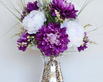 Artificial Flower Arrangement, Purple Dahlias, White Peonies, Silver Mirrored Vase, Silk Flower arrangement, Silk Floral Home Decor, Decor,