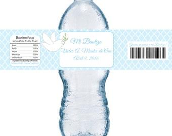 Boys or Girls Blue First Communion, Baptism, or Christening Water Bottle Label - Printable file