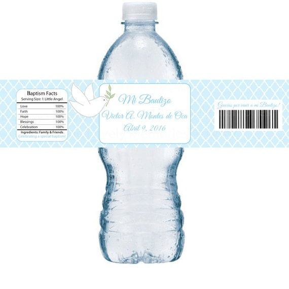 Water Bottle In Spanish: Boys Or Girls Blue First Communion, Baptism, Or