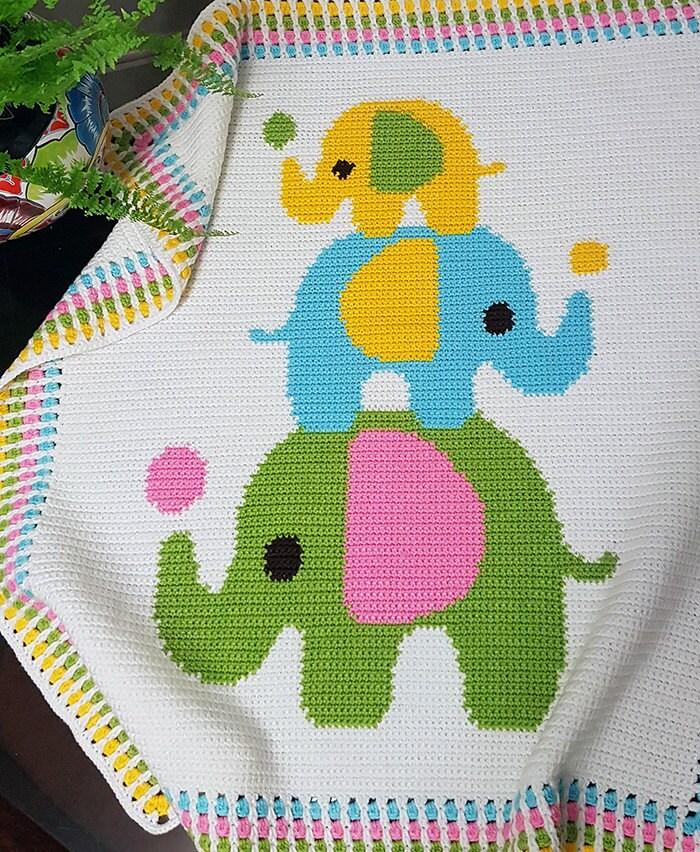 CROCHET Pattern Baby Blanket Pattern Three Elephants