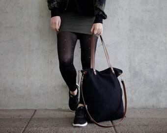 tote bag black canvas, cross body bags, zipper, fabric daybag sac, leather strap large shoulder bag,handmade plain