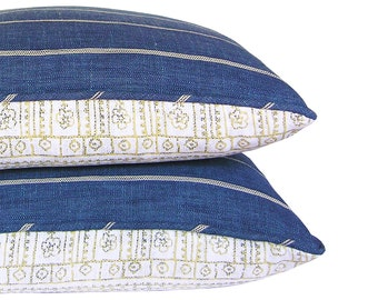 Custom Pillow Cover - Reversible Pillow Cover - Turnover Pillow Cover - Richloom Fritz Indigo - Devada Saffron -  Made to Order
