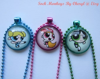 PowerPuff Girls Blossom Buttercup Bubbles Glass Pendant Necklace Action Pose