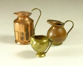 Collection of 8 Miniature Vintage Copper & Brass Pitchers and Bowls  - Miniatures - Doll - Doll House